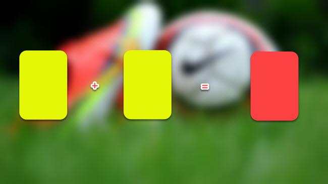 Cầu thủ nhận hai thẻ vàng sẽ bằng một thẻ đỏ