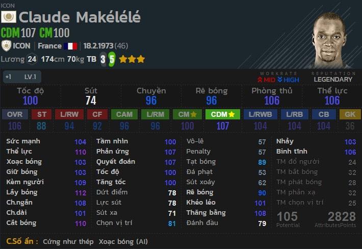 Makelele có tốc độ rất tốt